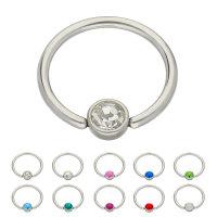 Piercing Klemmring - Stahl - Silber - Flacher Kristall