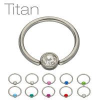 Piercing Klemmring - Titan - Silber - Flacher Kristall