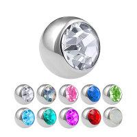 Piercing Kugel - Stahl - Silber - Kristall