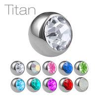 Piercing Kugel - Titan - Silber - Kristall