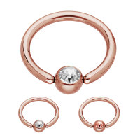 Piercing Klemmring - Stahl - Rosegold - Kristall