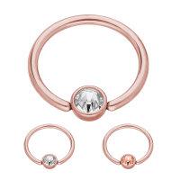 Piercing Klemmring - Stahl - Rosegold - Flacher Kristall