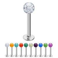 Piercing Labret - Stahl - Silber - Multikristall
