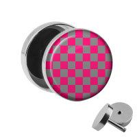 Motiv Fake Plug - Schachbrett - Pink-Grau