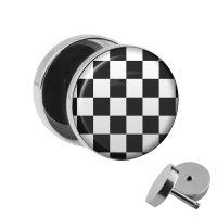 Motiv Fake Plug - Schachbrett - Schwarz-Weiß