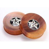 Holz Ohr Plug - Stern - Silber