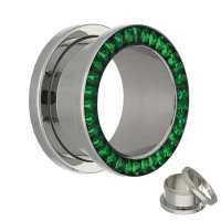 Flesh Tunnel - Silber - Kristall - Grün - Schutzschicht