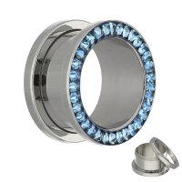 Flesh Tunnel - Silber - Kristall - Blau - Schutzschicht
