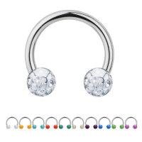 Piercing Hufeisen - Stahl - Silber - Multikristall