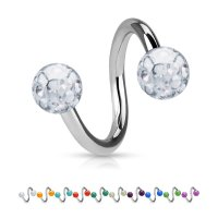 Piercing Spirale - Stahl - Silber - Multikristall