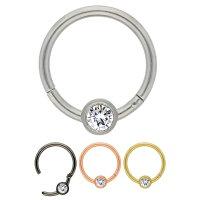 Segmentring Piercing - Clicker - Segmentklicker - Kristall