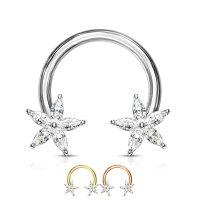 Piercing Hufeisen - Kristall-Blume