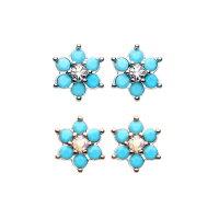 Ohrstecker mit blauer Blume und Kristall