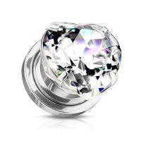 Silberner Ohr Plug mit klaren Herz-Kristall