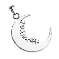 Silberner Ketten-Anhänger Mond und Sternen