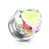Silberner Ohr Plug mit  bunt schimmernden Herz-Kristall