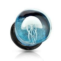 Blauer Glas Ohr Plug mit weißer Qualle
