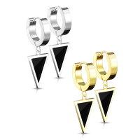 Creolen Ohrringe mit schwarzem Dreieck-Anhänger