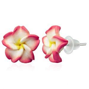 Ohrringe - Stecker - Blume - Rot