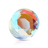 Klarer geschliffener Kristall Ohr Plug aus Glas