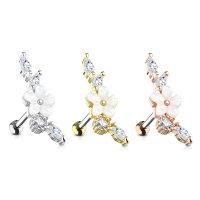 Piercing Stab mit weißer Blume und Kristallen