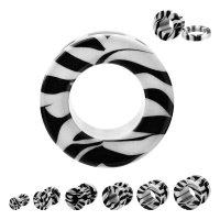Flesh Tunnel - Kunststoff - Zebra - Weiß