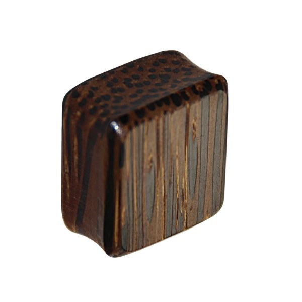 Holz Plug - Viereck - Palmen Holz - Dunkel