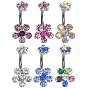 Bauchnabelpiercing - Blume - Kristall