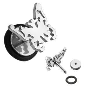 Fake Plug - Schmetterling - Silber
