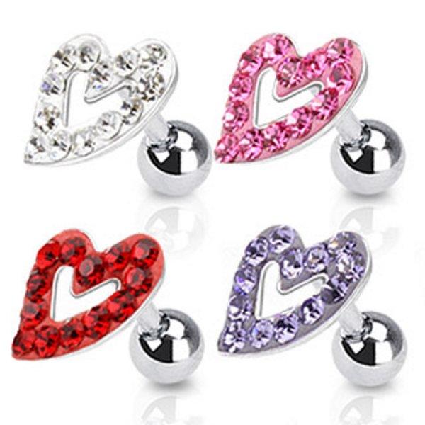 Piercing Stab mit Kugel - Silber - Kurz - Herz