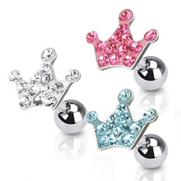 Piercing Stab mit Kugel - Silber - Kurz - Krone