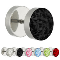 Piercing Fake Plug - Silber - Schutzschicht - Kristall