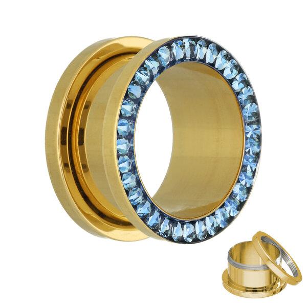 Flesh Tunnel - Gold - Kristall - Blau - Schutzschicht