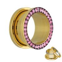 Flesh Tunnel - Gold - Kristall - Pink - Schutzschicht
