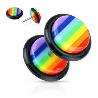 Piercing Fake Plug - Kunststoff - Regenbogen