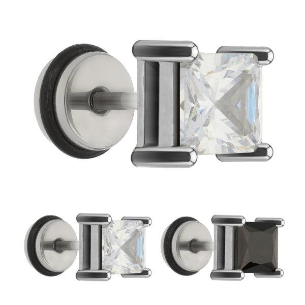 Piercing Fake Plug - Silber - Kristall - Eckig