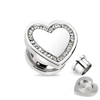 Ohr Plug - Stahl - Silber - Herz - Klar