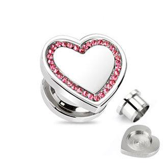 Ohr Plug - Stahl - Silber - Herz - Pink
