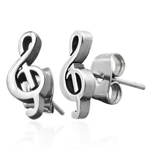 Ohrringe - Stecker - Silber - Notenschlüssel