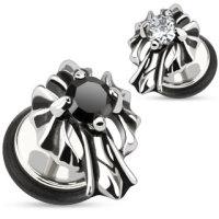 Fake Plug - Silber - Kristall - Kreuz