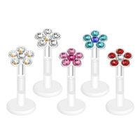 Piercing Labret - Bioflex - Blume - Kristall