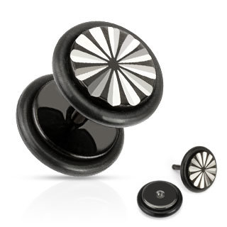 Fake Plug - Schwarz - Gravur - Blume