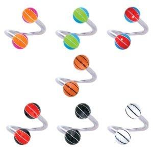 Spirale Piercing - Kugel - Basketball