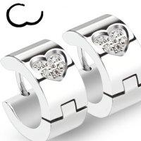 Edelstahl Creolen Ohrringe - Silber - Herz - Kristall