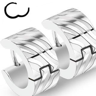 Edelstahl Creolen Ohrringe - Silber - Wellen