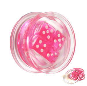 Ohr Plug - Kunststoff - Würfel - Pink