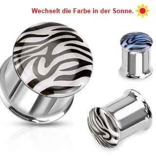 Ohr Plug - Stahl - Zebra - Farbwechsel