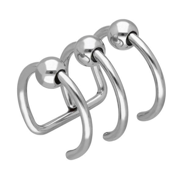 Ear Cuff - Silber - 3 Ringe - Kugel