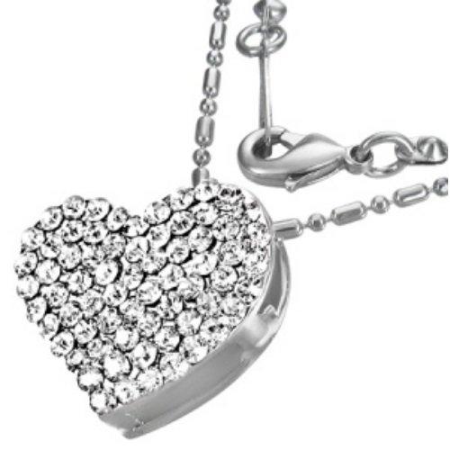Kette - Silber - Herz - Kristall - Klar