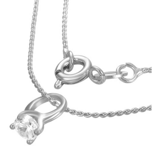 Kette - Silber - Ring - Kristall - Klar